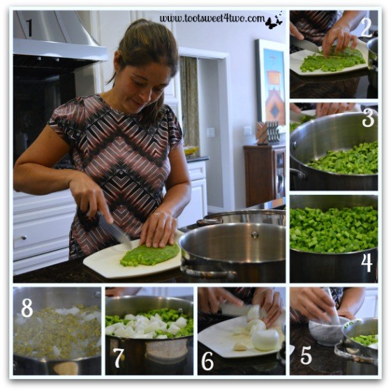 Preparing the cactus for Ensalada de Nopales