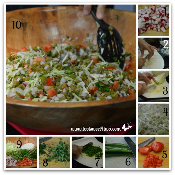 Preparing the veggies for Cactus Salad