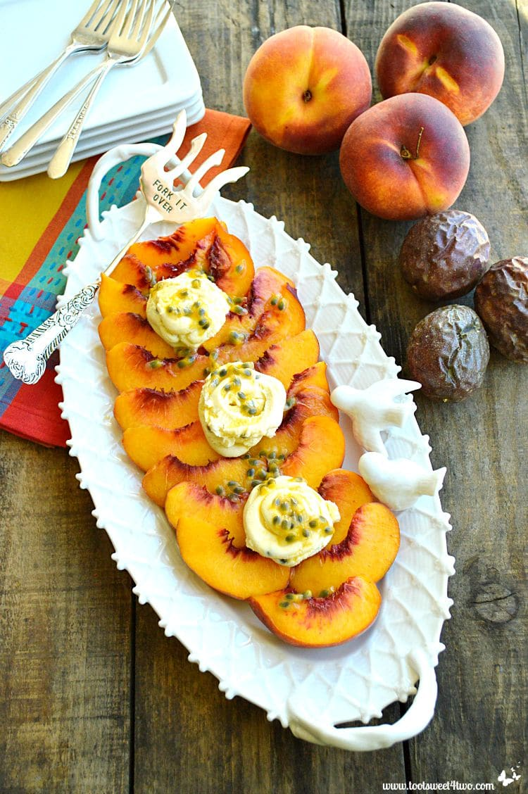 What could be better than a perfectly ripe fresh peach? Sweet, juicy and delicious, Summer's Best Peaches with Mascarpone and Passionfruit Drizzle is the ideal summer recipe for an easy and healthy dessert. Or, served along side a main dish on a beautiful platter, there will be on leftovers! | www.tootsweet4two.com.