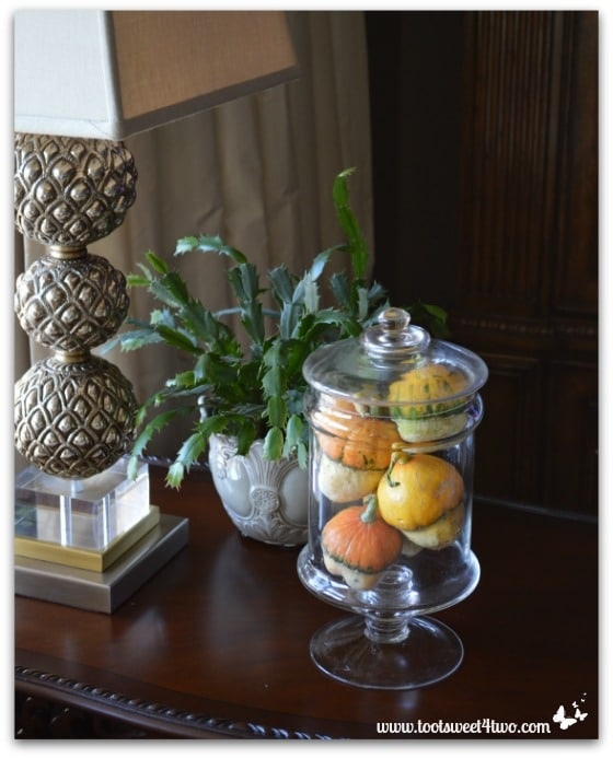 Acorn-shaped squash on an end table