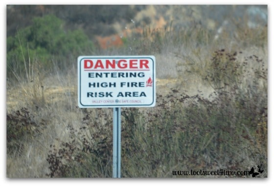 High Fire Risk Area sign