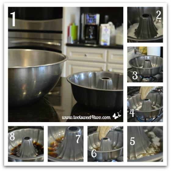 Making caramel topping for Rosa's Caramel Flan