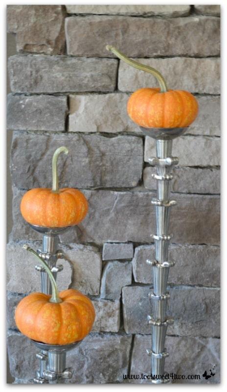 Mini pumpkins on candlesticks