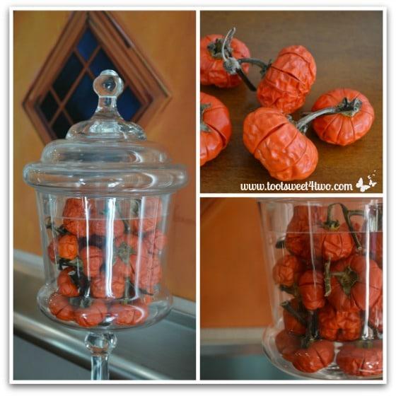 Pumpkin Tree fruit in glass jar collage