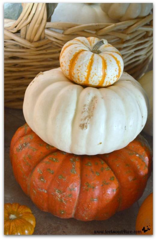 Stack of pumpkins by the front door
