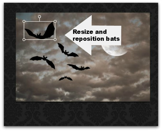 Step #12 - Resize and reposition bats