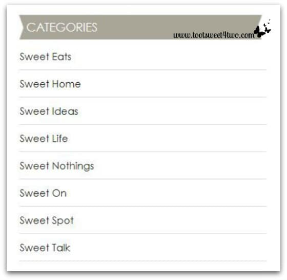 Toot Sweet 4 Two's Categories