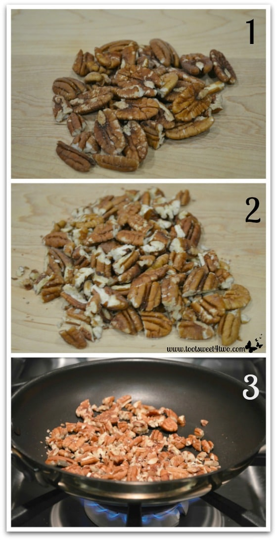 Toasting the pecans