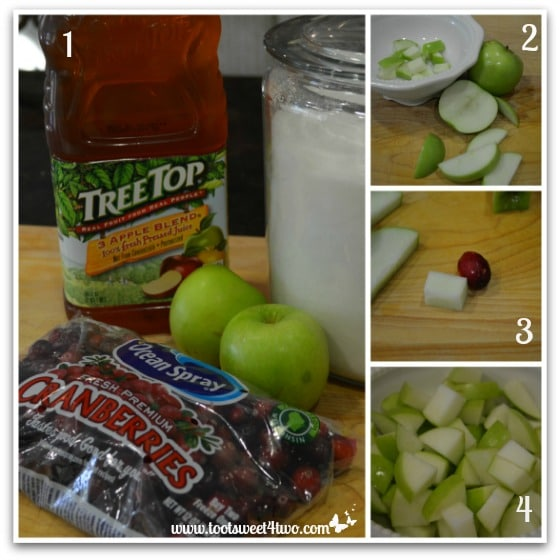 Apple Cranberry Sauce tutorial - cutting the apples