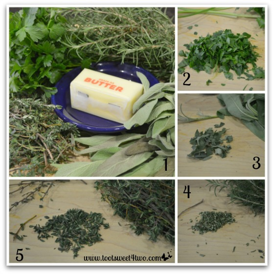 Chopping the herbs for Parsley, Sage, Rosemary and Thyme Roasted Turkey
