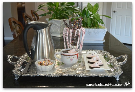 Hot Chocolate with Peppermint Peeps on a silver tray