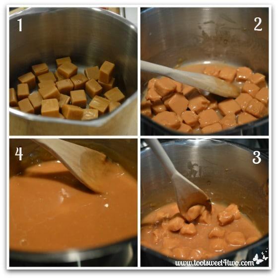 Melting caramels for Christmas Caramel Apples