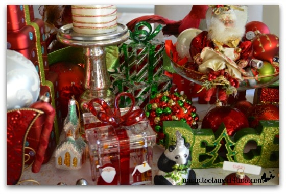 Ornaments scattered on the Christmas table
