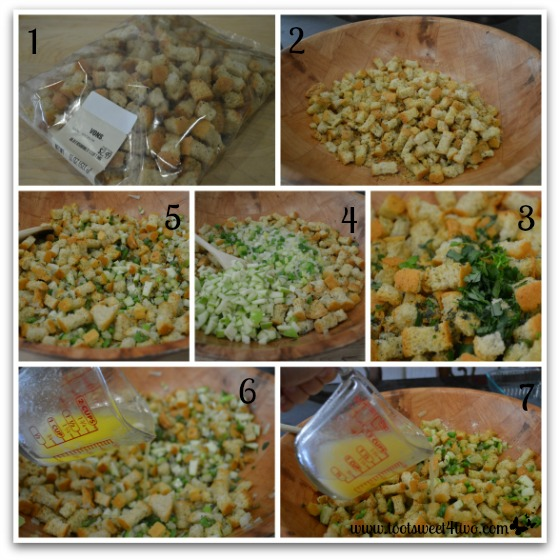 Preparing Parsley, Sage, Rosemary and Thyme Stuffing