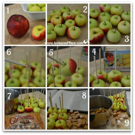 preparing the apples for christmas caramel apples - Christmas Candy Apples