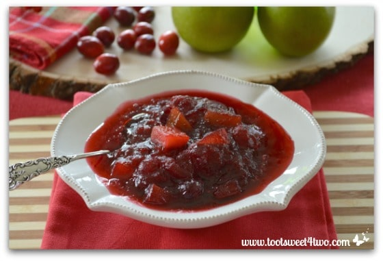 Sour Apple Cranberry Sauce on the table