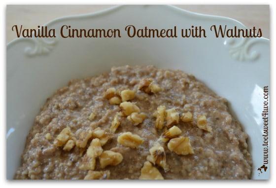 Vanilla Cinnamon Oatmeal with Walnuts close-up