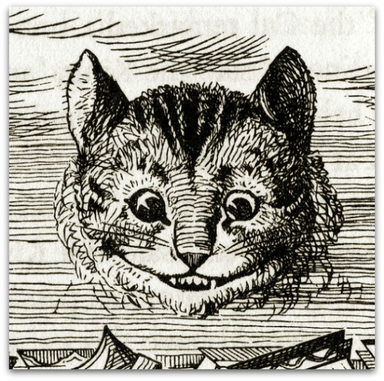 Cheshire Cat appearing in Lewis Carroll's Alice in Wonderland, illustrated by John Tenniel 1866.  Source  Wikimedia Commons