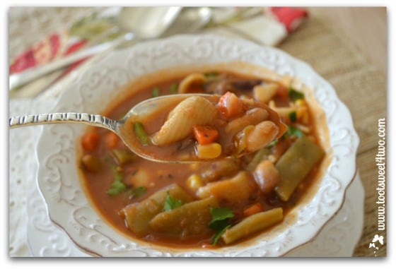 Spoonful of Beefy Tuscan Vegetable Soup close-up