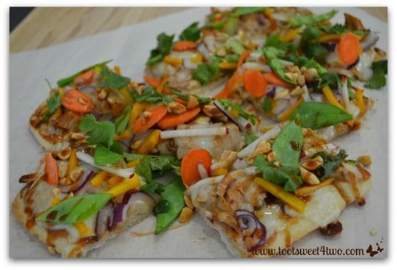 Thai Turkey Flatbread Pizza cut up into pieces