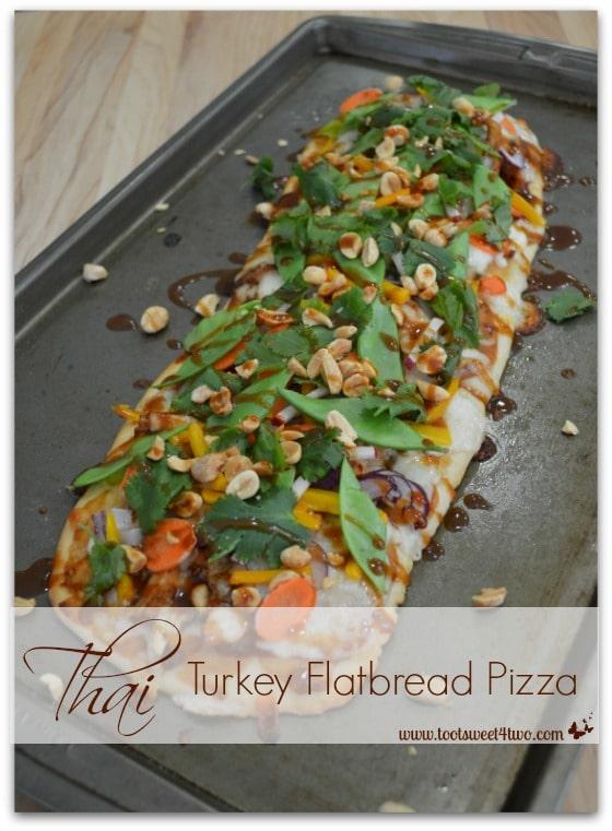 Thai Turkey Flatbread Pizza on baking sheet