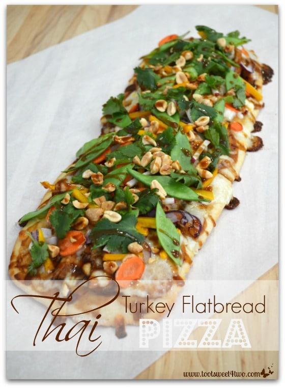 Thai Turkey Flatbread Pizza on chopping board