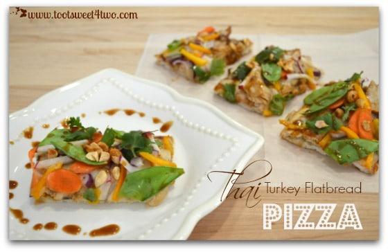 Thai Turkey Flatbread Pizza slices on chopping board