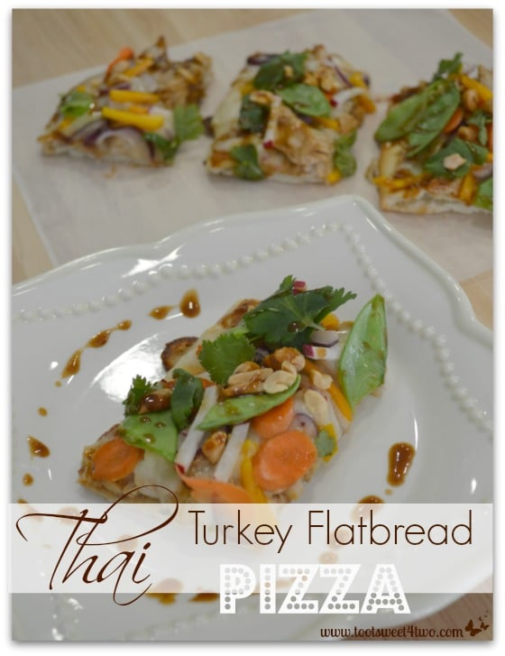 Thai Turkey Flatbread Pizza slices plated - Toot Sweet 4 Two