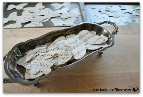Crafting butterflies from sheet music - horizontal
