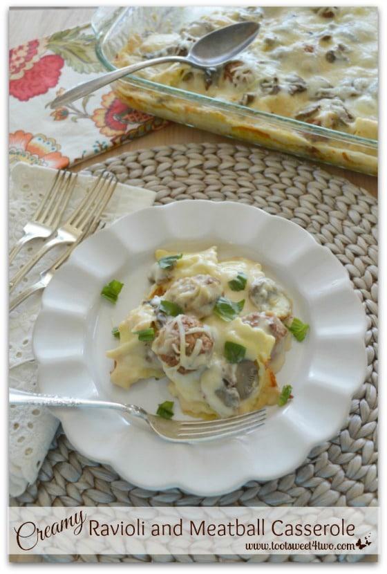Creamy Ravioli and Meatball Casserole cover