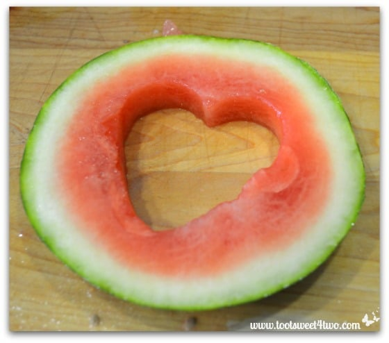Heart cut out of a watermelon