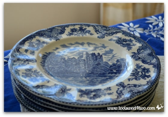 A stack of Blarney Castle plates