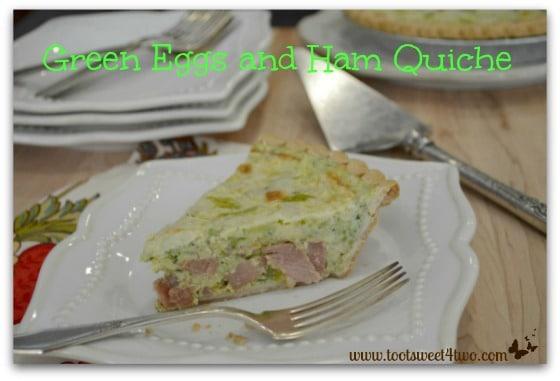 Green A slice of Eggs and Ham Quiche