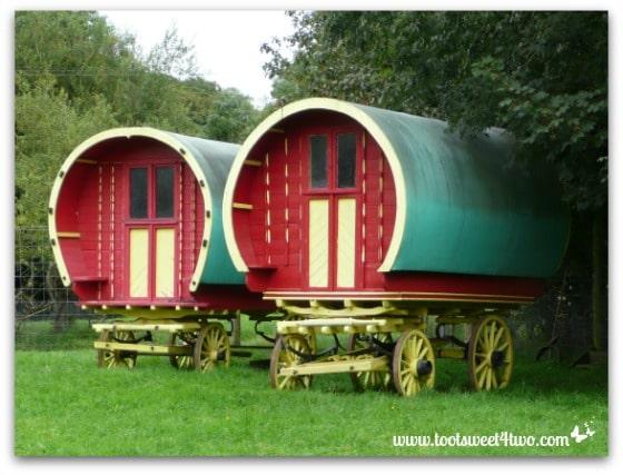 Green roofed Gypsy wagons in Bunratty Folk Park, Ireland - 42 Shades of Green
