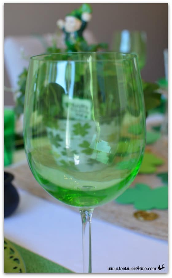 Green stemware for St. Patrick's Day