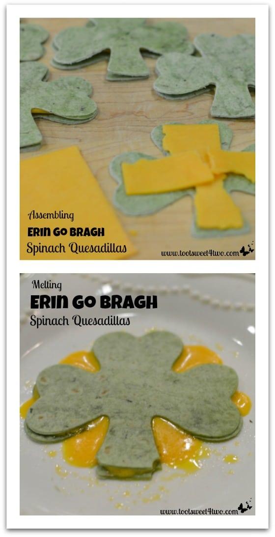 Making Erin Go Bragh Spinach Quesadillas