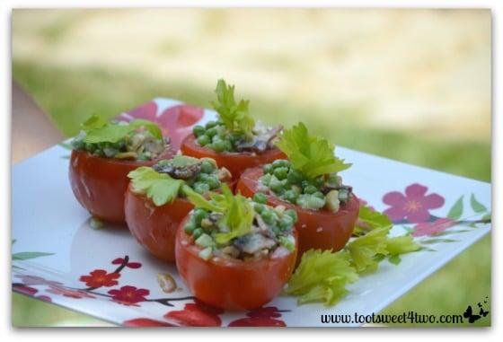 Petite Pea Salad in Tomato Cups