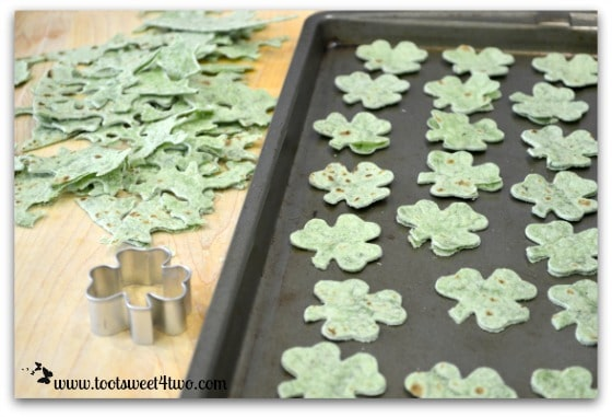 Shamrocks cut from spinach tortillas