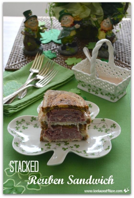Stacked Reuben Sandwich on Shamrock plate
