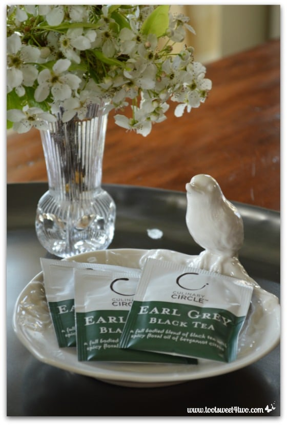 Tea bags in bird bowl - The Charms of Afternoon Tea