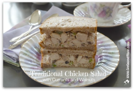 Traditional Chicken Salad Sandwich with Currents and Walnuts super close-up