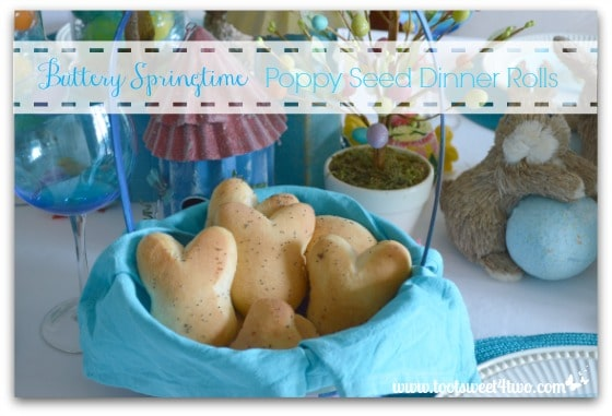 Buttery Springtime Poppy Seed Dinner Rolls on the table