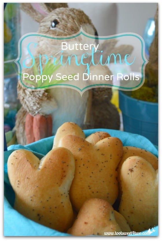 Buttery Springtime Poppy Seed Dinner Rolls vertical close-up