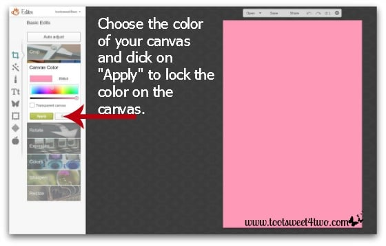 Here Comes Peter Cottentail tutorial - Step 2 - Color canvas in PicMonkey