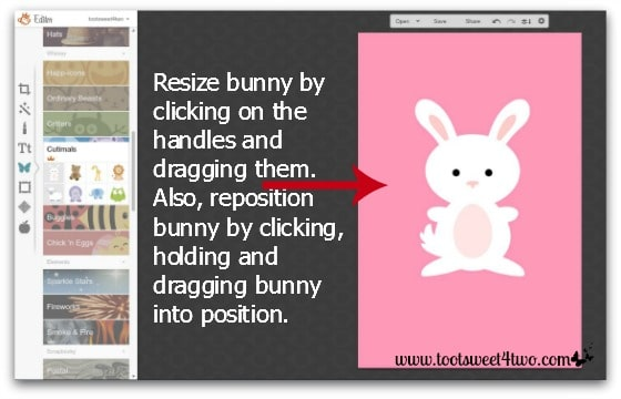Here Comes Peter Cottontail tutorial - Step 4 - Resize overlay in PicMonkey