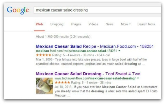 Google search Mexican Caesar Salad Dressing - Monthly Income Report April 2014