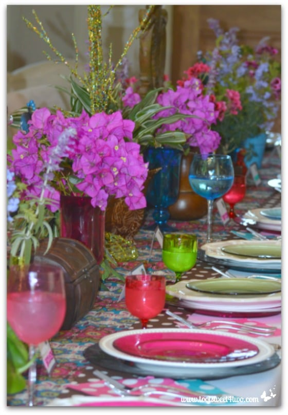 Peacock Table Decorations - flowers