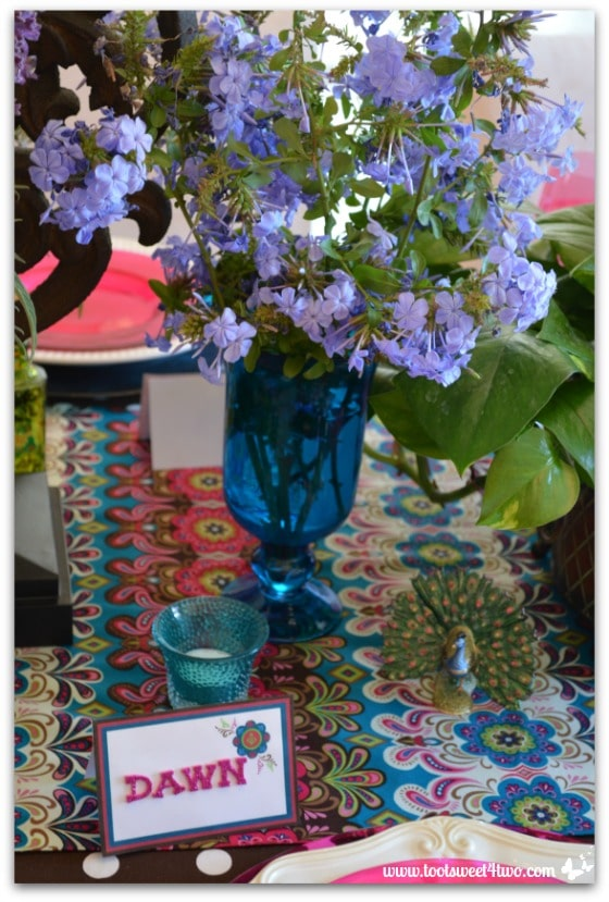 Plumbago from the garden for the Peacock table