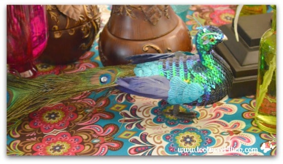 Sequin Peacock on table