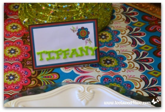 Tiffany's place card for the Peacock table